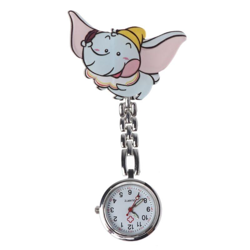 Fashion Nurse Watch Cute Cartoon Elephant Acrylic Pocket Medical Watches Gifts Portable Doctor Supplies Convenient Clock