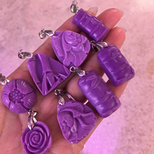 Natural Violet  stone Carving pendant pendants diy wholesale