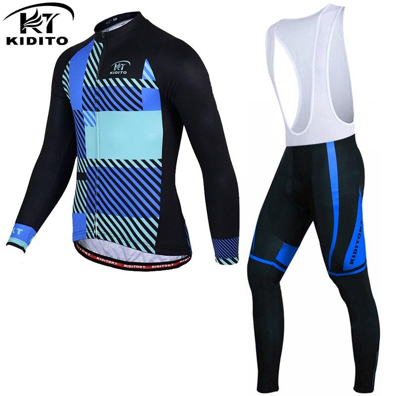 Одежда для велоспорта с длинным рукавом KIDITOKT, комплект Джерси для горного велосипеда, осенняя одежда для гоночного велосипеда с 3D гелевыми ...