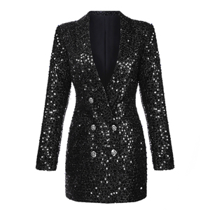 Image 2 - מסלול אופנה החדש באיכות גבוהה 2020 מעצב בלייזר נשים של טור כפתורים כפול צעיף צווארון נצנצים ארוך בלייזר חיצוני ללבוש