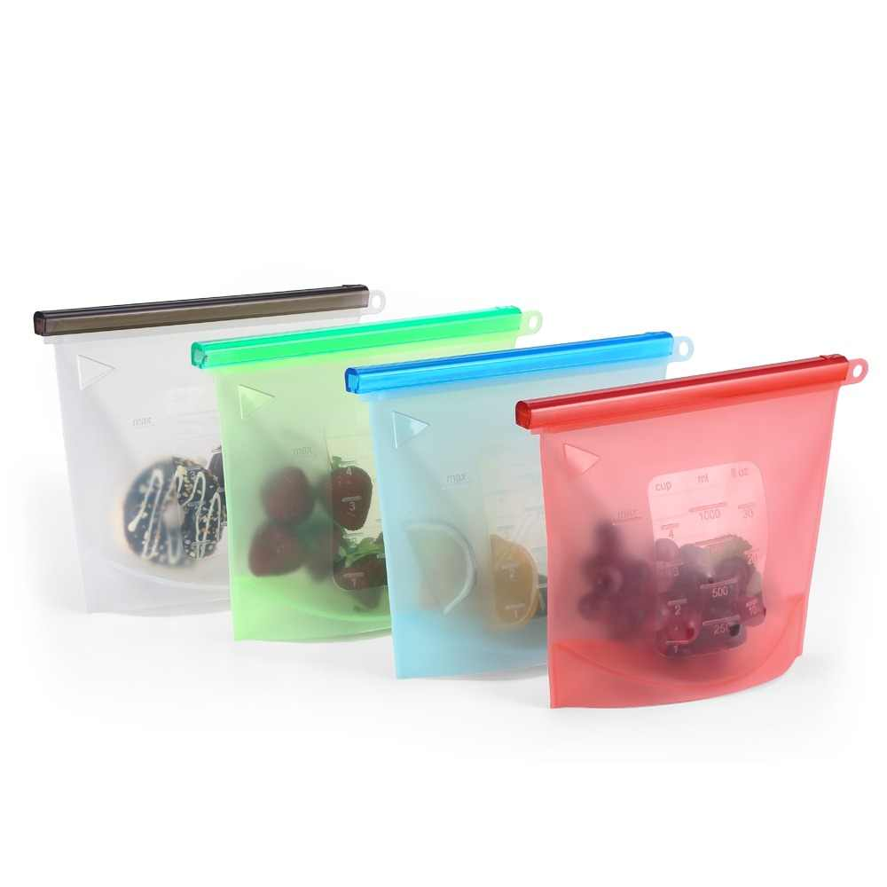 4PCS 1000ml Kitchen Food Sealing Storage Silicone Reusable Ziplock Bag Refrigerator Fresh Bags Fruit Meat Kitchen Organizer