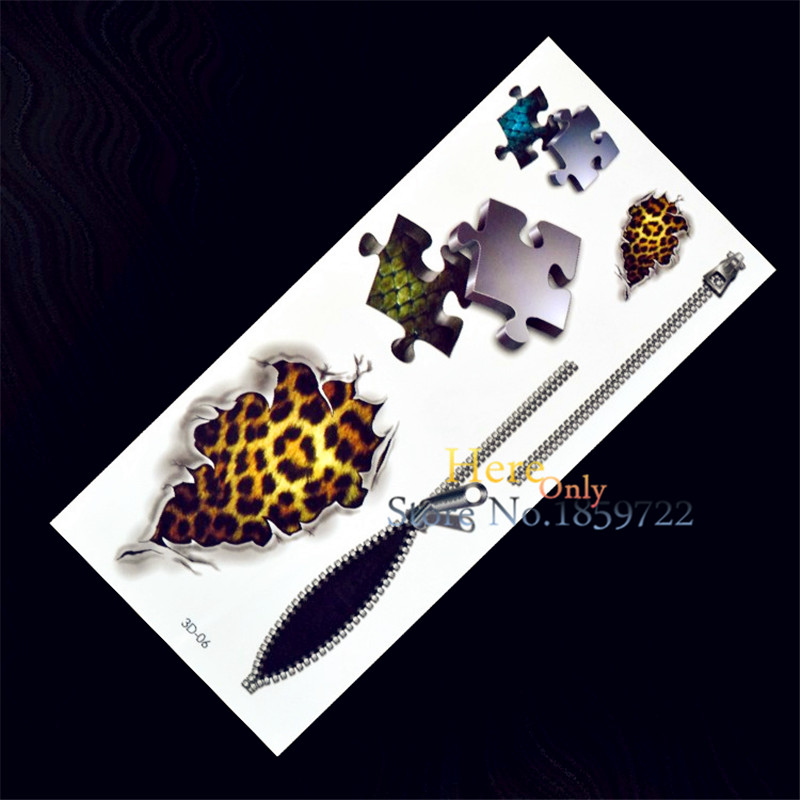 1PC Fashion 3D Waterproof Temporary Tattoo Women Removable Vivid Body Art Men H3D-06 Puzzle Wound Leopard Print Zipper Scale