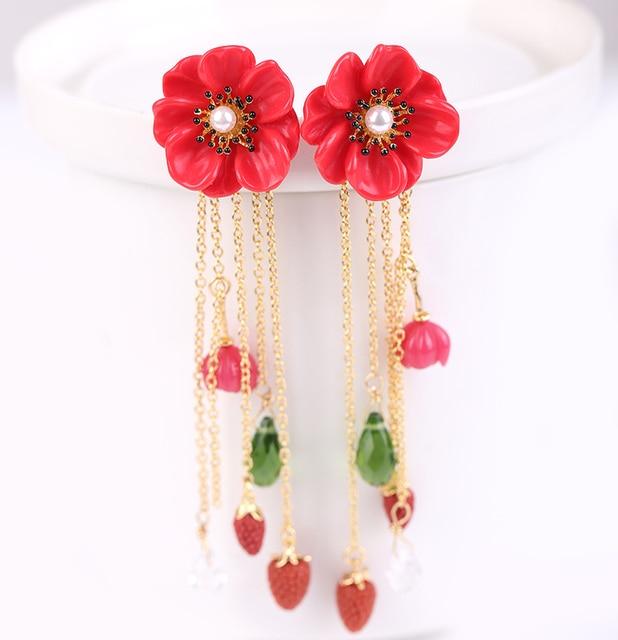 European fashion jewelry  les nereidescute camellia Strawberry red flower tassel golden earrings party jewelry  -Free Shipping