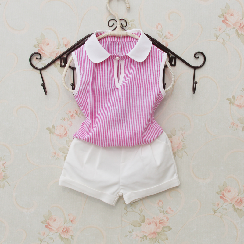 ᐊnew Baby Girl Cotton Blouse Summer 2018 Sleeveless Blue Red Stripe