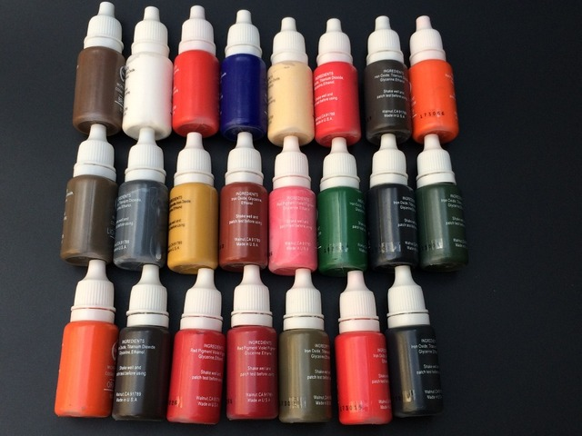 23Colors Permanent Makeup Cosmetic Tattoo Ink Kit Micro Pigments Color 1/2 Oz For Permanent Makeup Eyebrow Eyeliner Lip