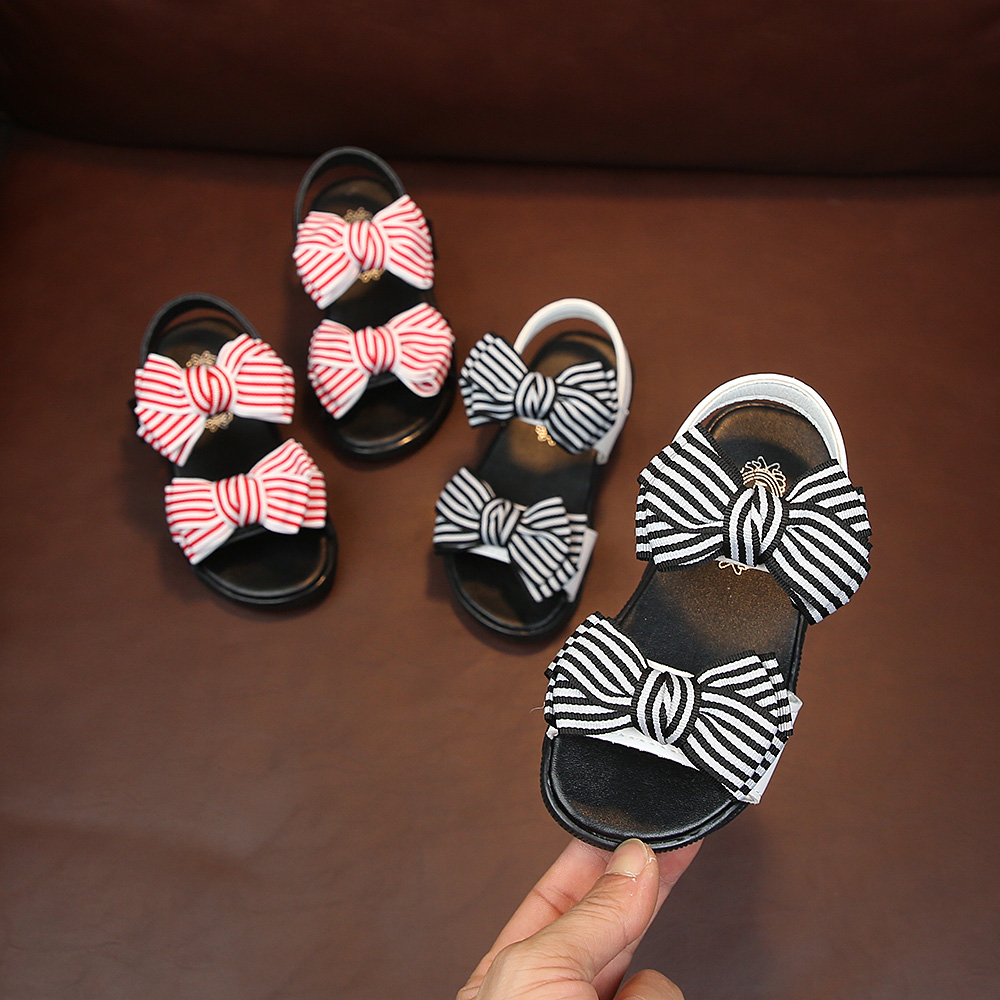 Flower Bow-tie Girls Sandals Shoes For Baby Children Summer Beach Sandals Casual Flat With Comfortable Sandal For Kids Girls