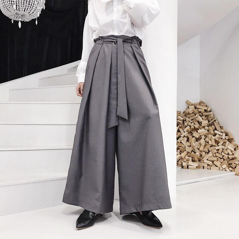 2018 Neue Frauen Männer Kleidung Der Haar Stylist Gd Mode Lose Bandage Design Hohe Taille Breite Bein Pnats Culotte Kostüme