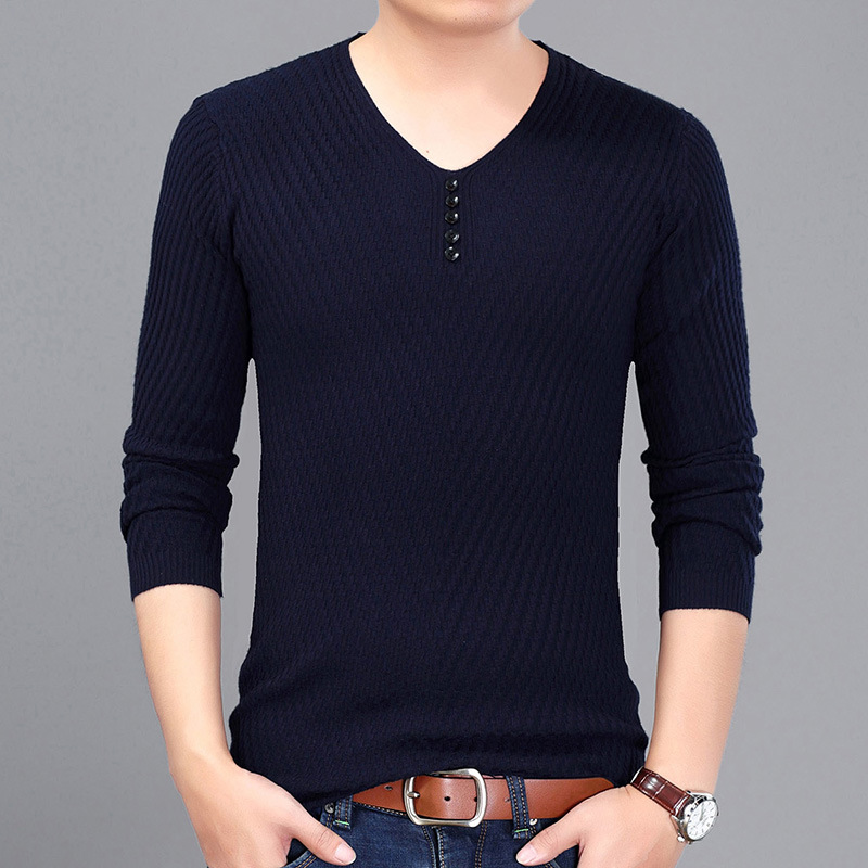 2017 Casual Wear Mens Knitwear Sweaters Solid V-neck Full Pullovers Mens Striped Sweater ...