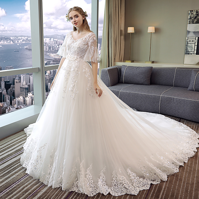 cb6adce000a Pregnant Women Wedding Dress Trailing Princess Dream Bride Female High  Waist Plus Size Maternity Dresses Pregnancy. sku  32897459988
