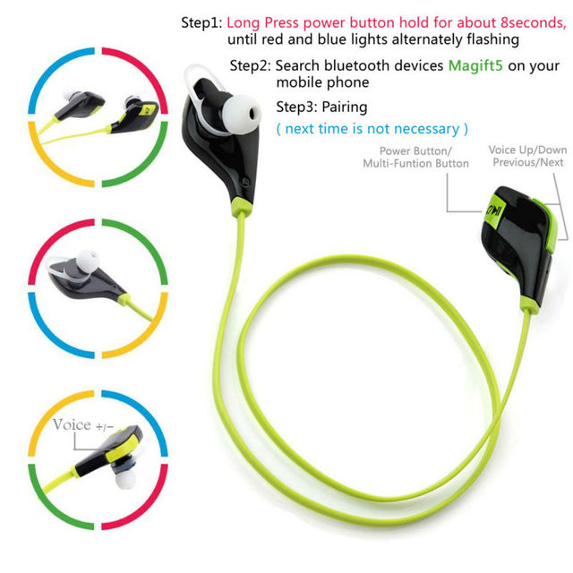 Magift5 Sports Running Gym Bluetooth Earphones V4.1 Headset In-ear Wireless Headphones Mic for iPhone7 6S Android for Xiaomi