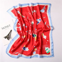 small scarf for lady summer spring silk scarves square neck office hijabs handkerchief foulard