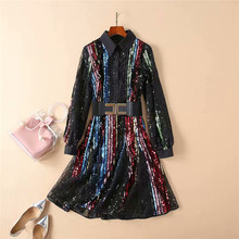 Spring New 2019 Designer Runway Dress Women's High Quality Long Sleeve Luxury Multicolor Sequined Sexy Party Dress with Belt