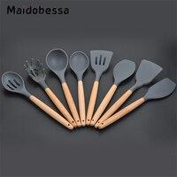 Maidobessa 8pcs/set Cooking Tool Sets Heat Resistant Silicone Kitchen Utensils Non stick Cookware Kitchen Baking Tool Kit