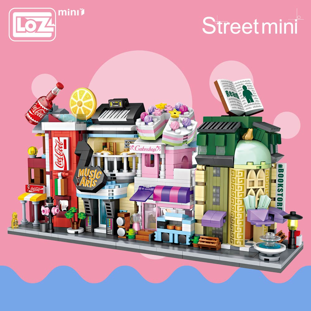 LOZ Mini Bricks Architecture Mini Street Model Store Shop Building Assembly Toy City Square Block Set House Kids Gift 1621-1624 loz diamond block street mini nano building blocks toys for children shop model mobile phone shop mini city bricks building 9036