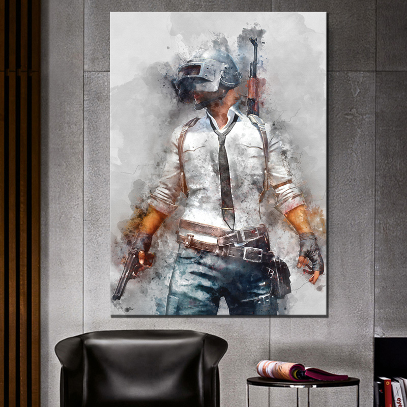 1 Piece PUBG PLAYERUNKNOWNS BATTLEGROUNDS Game Poster Artwork Canvas Painting Wall Art for Home Decor 1