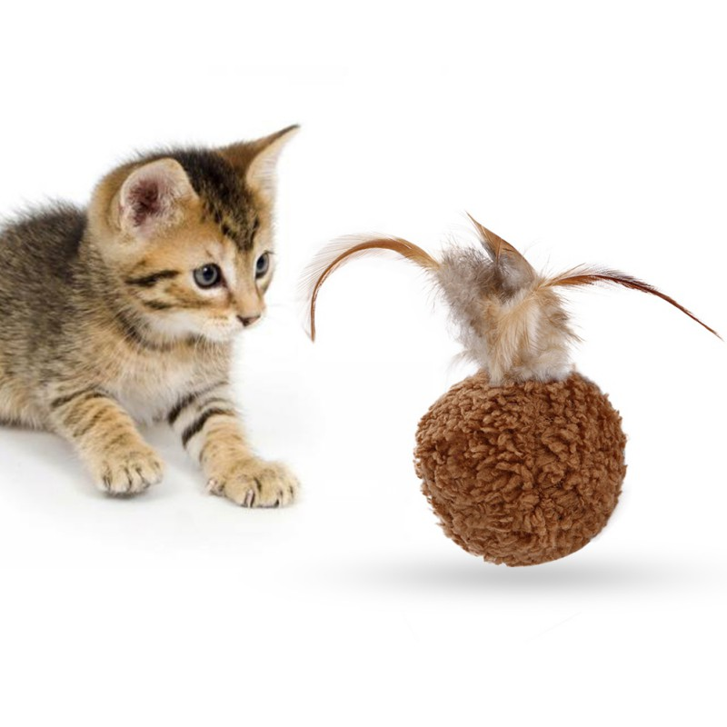 Cat Feather Ball Toys Interactive Cat Toys Play Chewing Rattle Scratch Catch Pet Kitten Cat Exrecise Toy Balls Pet Accessories