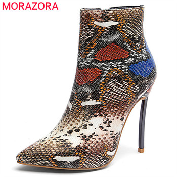 MORAZORA 2020 top quality big size 33-45 ankle boots for women pointed toe autumn winter boots zip fashion stiletto heels shoes