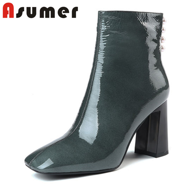 ASUMER HOT SALE 2018 solid fashion ankle boots for women sewing temperament high heels boots square toe genuine leather bootsASUMER HOT SALE 2018 solid fashion ankle boots for women sewing temperament high heels boots square toe genuine leather boots