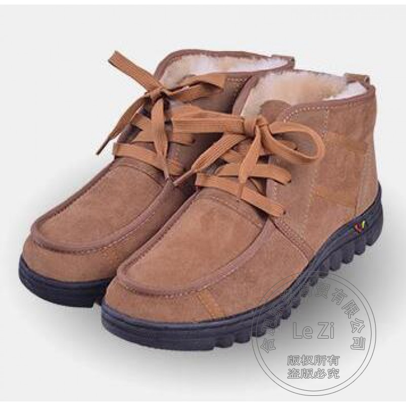 ФОТО Men Winter Shoes Super Warm Fleece Snow Sheepskin Boots Middle-aged Toe Loop Booties Anti Slip Fur Cotton Padded Thicken Fitness