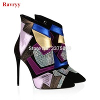 Hot Sale Women Boots multicolor crystal size Zip High heels Boots Lady Pointed toe Ankle Boots Rhinestone Stiletto heel Booties