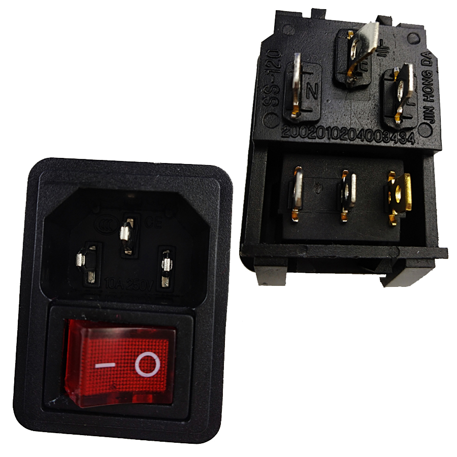 <font><b>10A</b></font> <font><b>250V</b></font> Inlet Module Plug Red light <font><b>3pins</b></font> Switch Male Power Socket 3 Pin IEC320 C14 Socket Plug AC Power Inlet Socket Connector image