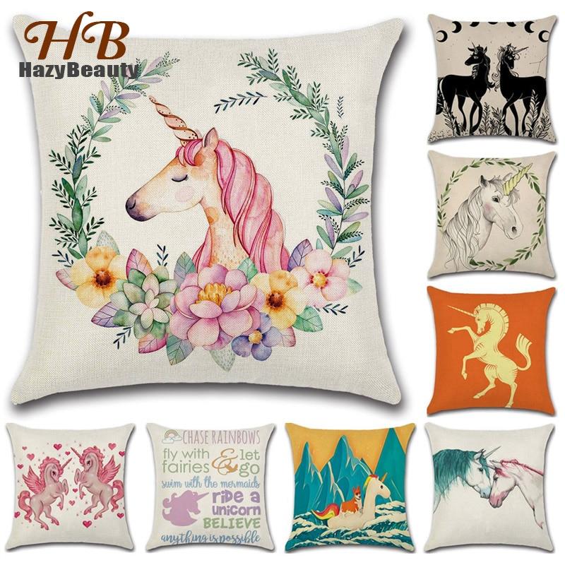 Unicorn Cushion Cover Super Cute Unicorn Throw Pillow Square White Horse Cotton Linen Waist Pillow Case Cafe Office Sofa Decor