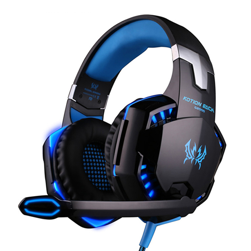 Best casque Computer Stereo Gaming Headphones Deep Bass Game Earphone <font><b>Headset</b></font> Gamer with Microphone Mic LED Light for PC Game
