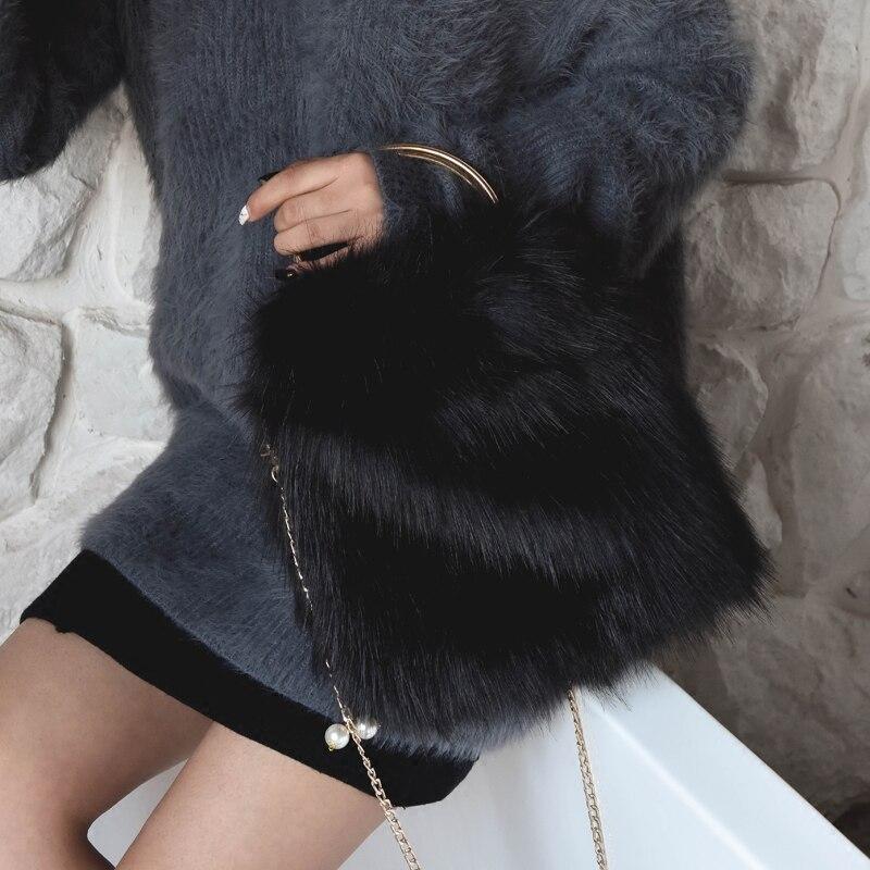 Winter Luxury Fur Purse Handbag Samll Ring Wristlets Bag Ladies Evening Portable Handbag Women Chain Messenger Bag Tote Bag 811 120cm 47 bronze twist o ring bag chain diy metal purse strap 20pcs freeshipping