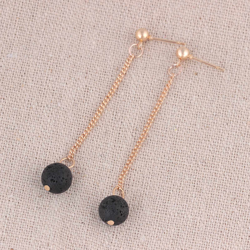 Creative Natural Lava Rock Earrings Simulated Pearls Long Round Beads Tassels Dangle Earrings For Women Jewelry Earring