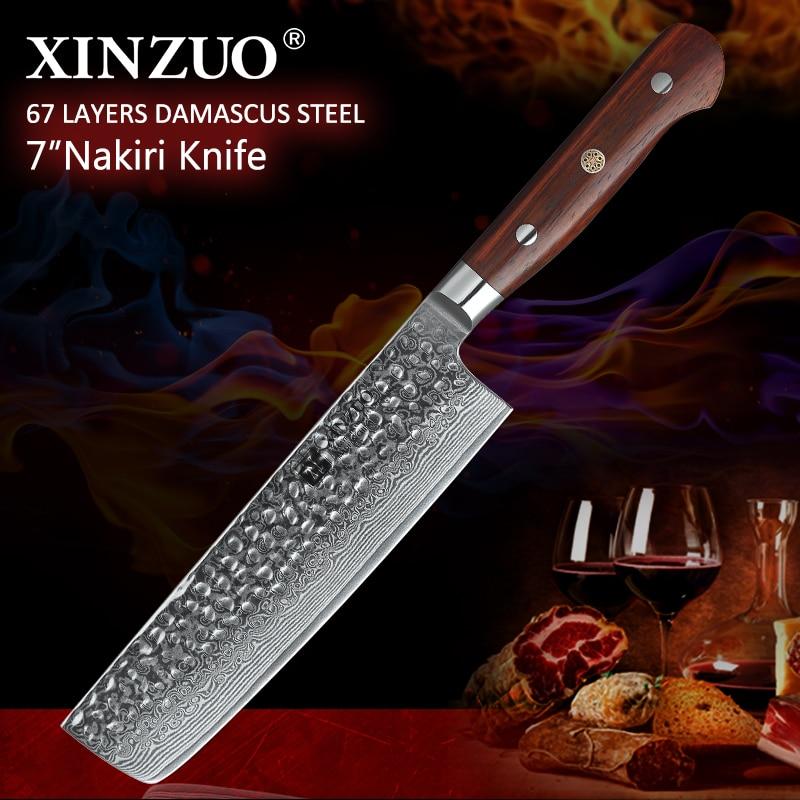 XINZUO 7 inch Nakiri Knife Japanese 67 layer Damascus Samurai Steel Kitchen Knife Rosewood Handle Chef