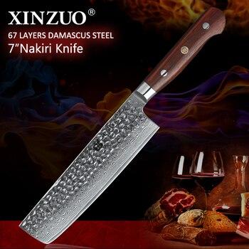 XINZUO 7 inch Nakiri Knife Japanese 67 layer Damascus Samurai Steel Kitchen Knife Rosewood Handle Chef Knives Cleaver Cutlery
