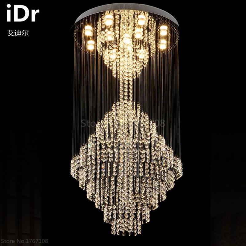 Grand lustre en cristal lampe salon de luxe penthouse escalier lampe LED long hall lustre Villa iDr-0026Grand lustre en cristal lampe salon de luxe penthouse escalier lampe LED long hall lustre Villa iDr-0026