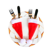 10PCS Christmas Decorative tableware Xmas Caps Cutlery Holder Knife Fork Set Spoon Pocket Christmas Decor Bag 6x15cm Gift 10pcs(China)