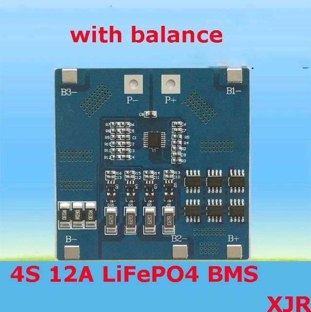 4 S 12A 12.8 V LiFePO4 BMS/PCM/PCB pil koruma devre 4 Paketleri için 18650 pil hücresi w /denge