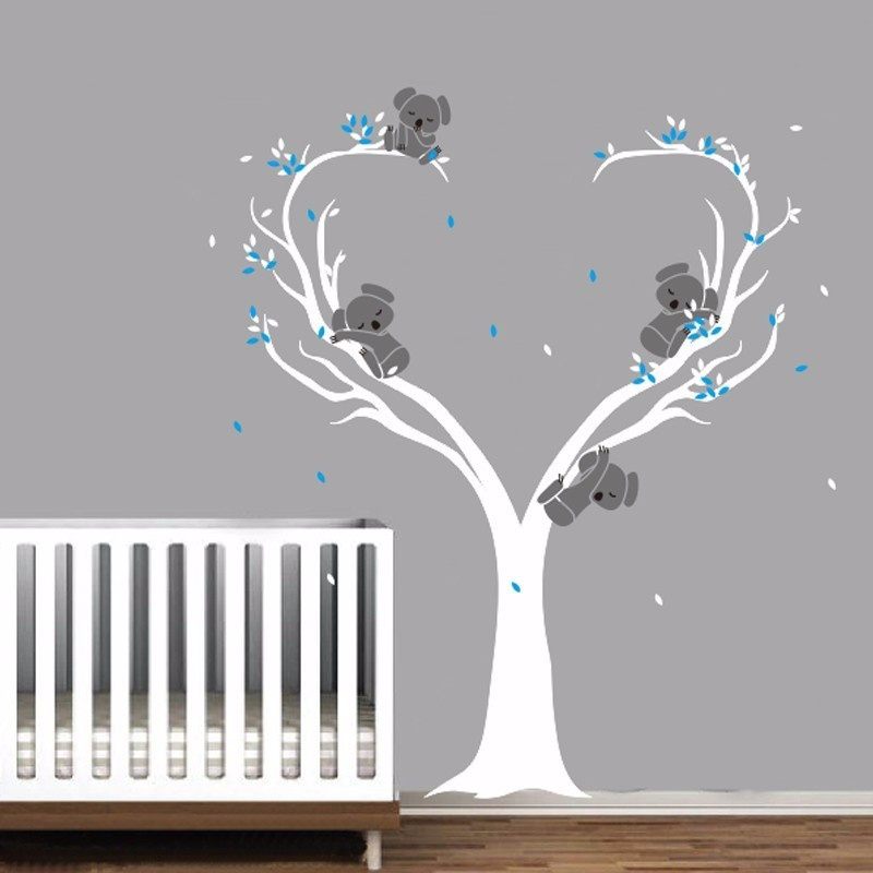 Cute Koalas on Tree Vinyls Wall Decals Nursery Baby Wall Stickers Wall Decor Kids Room Decor