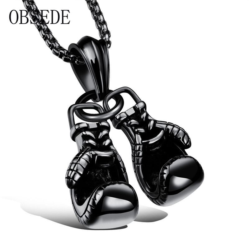 2017 New Fashion Titanium Steel Necklace Cool Boxing Gloves Shape Silvery&Golden&Black Chain Gift For Best Friend Unique Jewelry