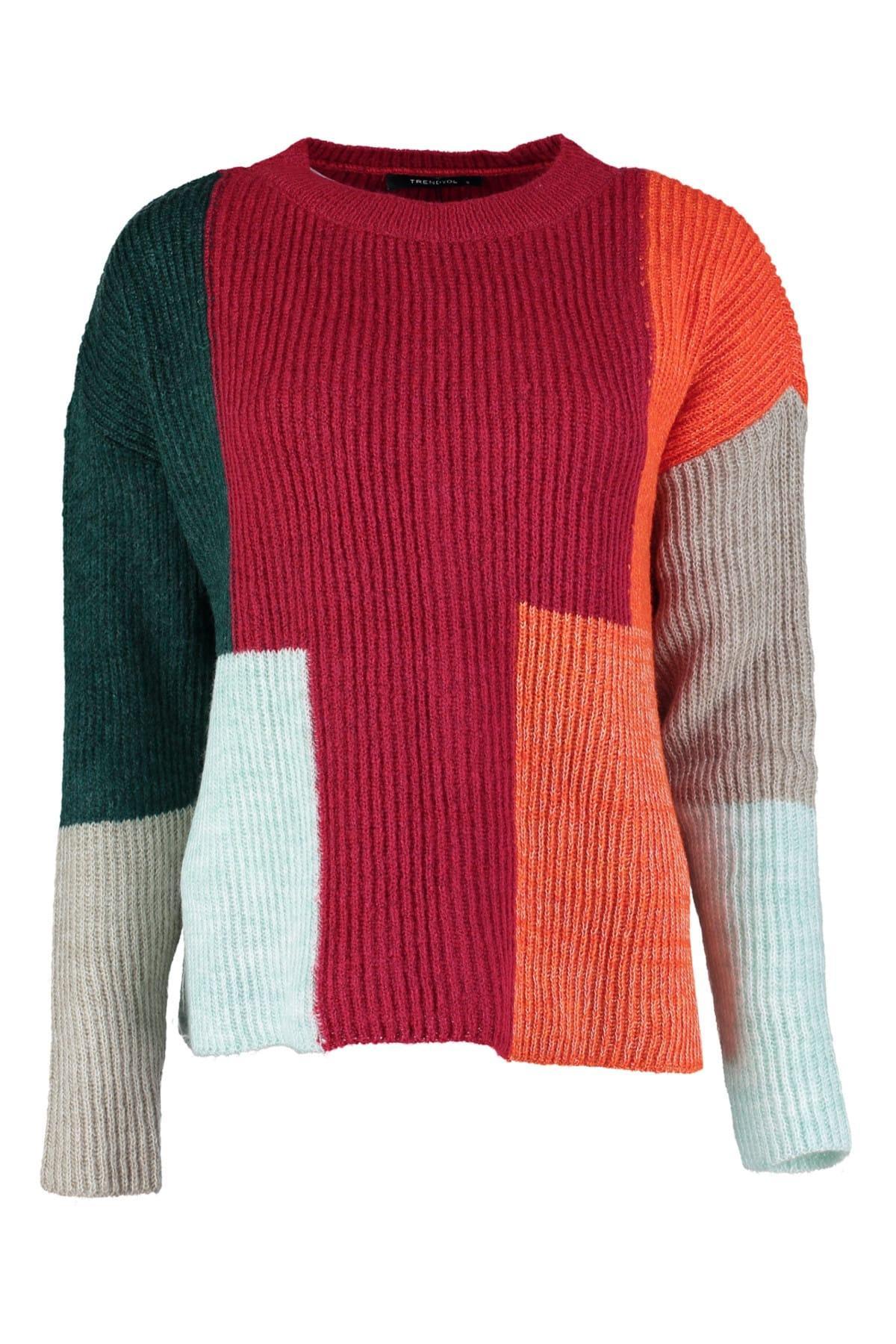 Trendyol WOMEN-Green Colorblock Sweater Sweater TWOAW20ZA0031
