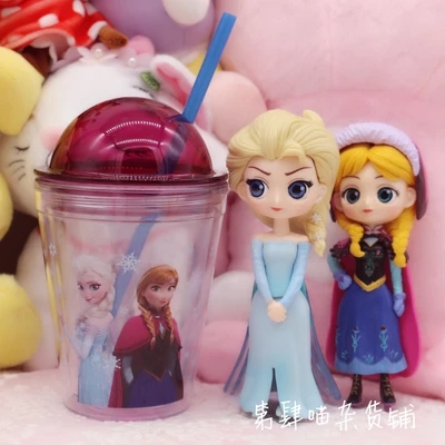 Snow and ice, queen of ice and snow, princess aisha Cartoon mugs with Straws cup PE plastic mug cup for loving gifts discount