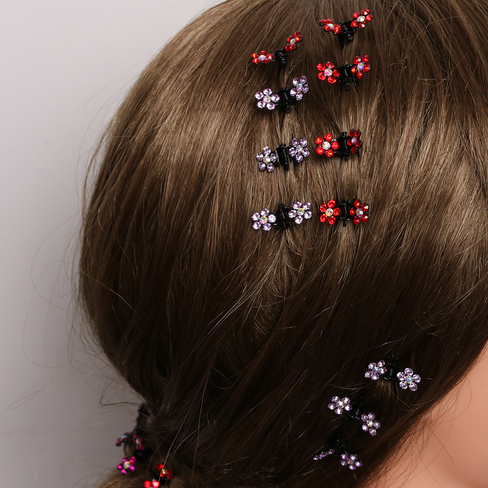 HTB1Z389QVXXXXbeXXXXq6xXFXXX3 Bejeweled 12-Pieces Rhinestone Crystal Flower Mini Barrette Hair Claw For Women - 7 Colors