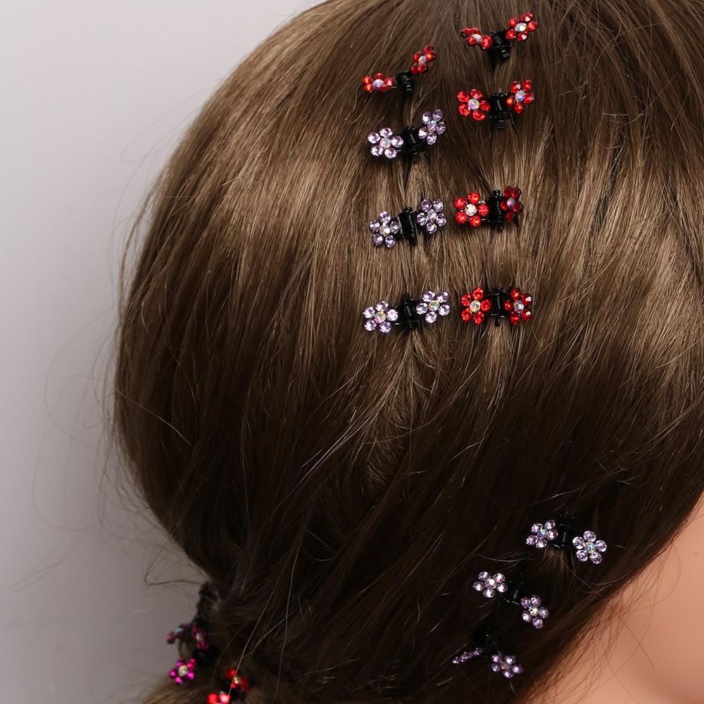 HTB1Z389QVXXXXbeXXXXq6xXFXXX3 Bejeweled 12-Pieces Rhinestone Crystal Flower Mini Barrette Hair Claw For Women - 7 Colors
