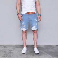 2019 New Mens Modis Denim Shorts Summer Popular Light Blue Thin section Ripped jeans For Men Size S-XXXL