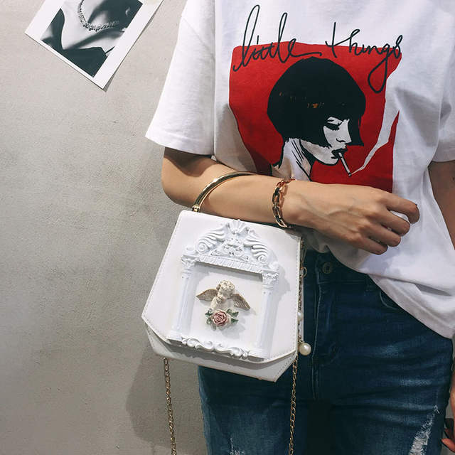 Vintage Baroque angel Cupid box shape pu leather pearl chain shoulder bag  handbag party purse women s 67cbcc9939ef
