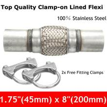 Exhaust Clamp-on Flexi Tube Joint Flexible Pipe Repair 1.75″ x 8″ 45x 200mm Flex