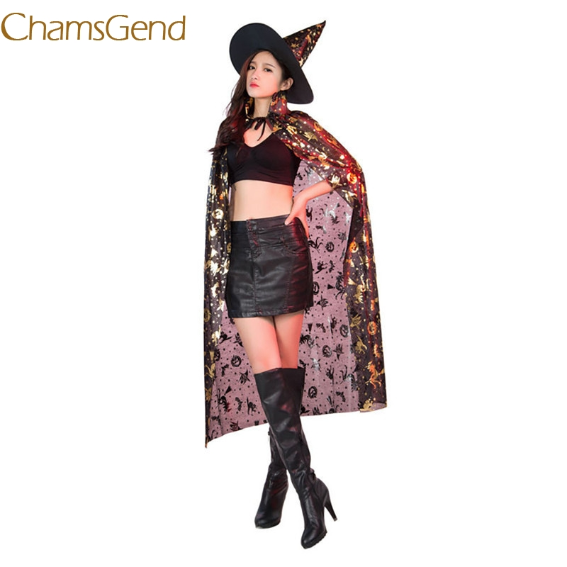cbd27ff08063 2017 FASHION Cos Wizard Cloak Coat Wicca Robe Medieval Cape Shawl Halloween  Witch Party+Hat