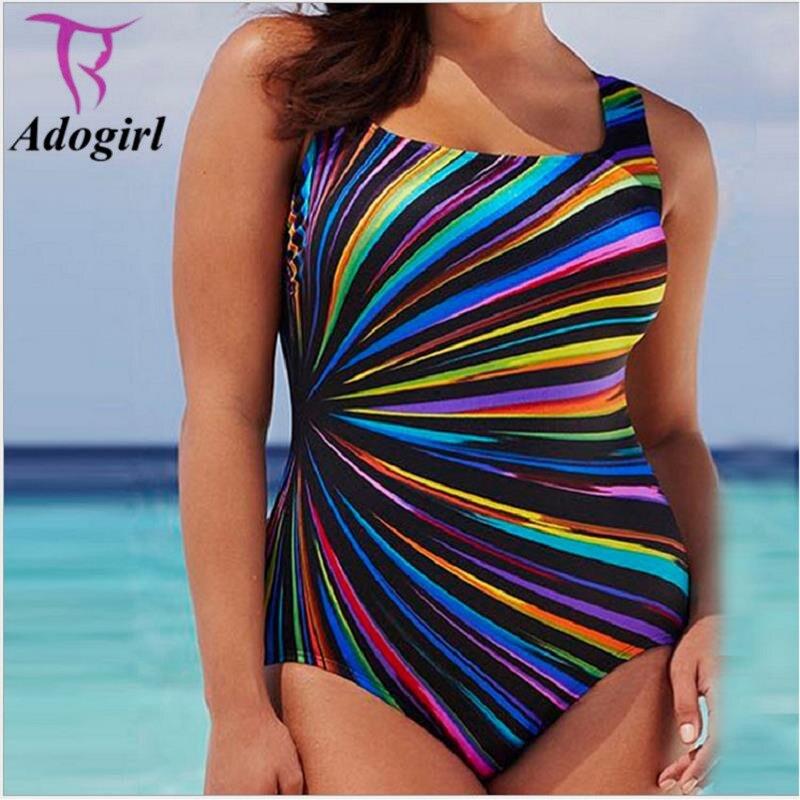Adogirl Colorful Striped Cut Out Women Plus Size 5XL One-piece Monokini Summer Beach Wear Bandage Swimsuit Bodysuit Bathing Suit fashionable strappy printed cut out one piece swimsuit for women