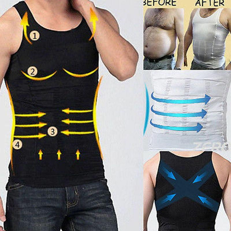 US Men Slimming Body Shaper Tee Full Waist Trainer Corsets Vest