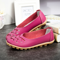 Genuine Leather Summer Women Flats Shoes 2017 Casual Flat Shoes Women Loafers Shoes Leather Red Flat