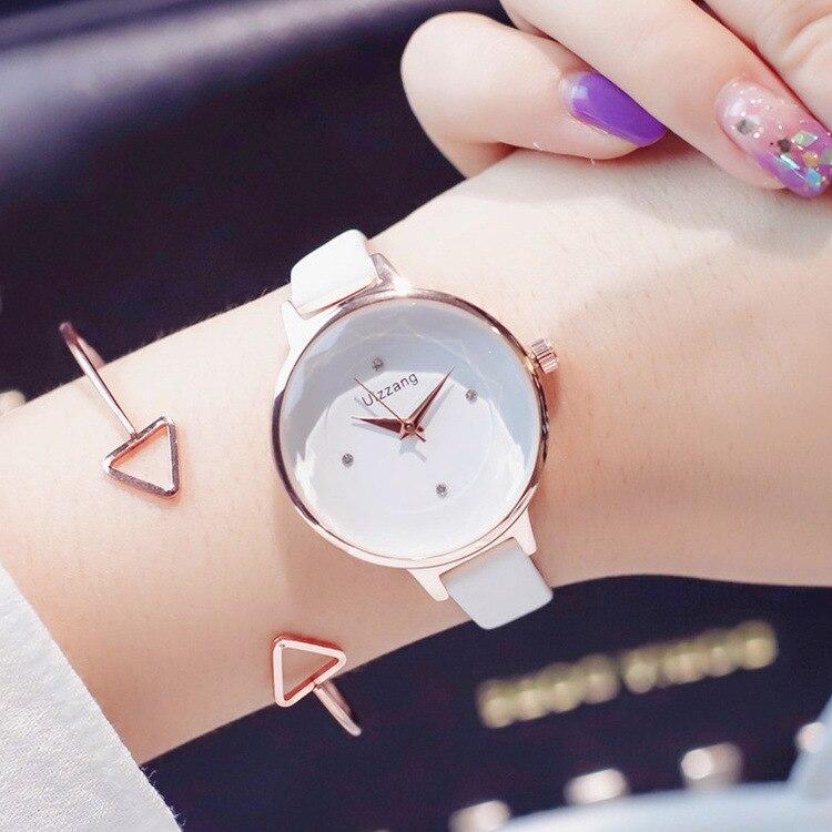 Ulzzang Marke Mode Dame Uhr Minimalismus Reine Beiläufige Elegante Frauen Uhr Rose Gold Strass Business Kleid Uhr für Weibliche
