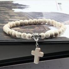 Винтаж Крест из натурального камня 6 мм бисер браслет для мужчин