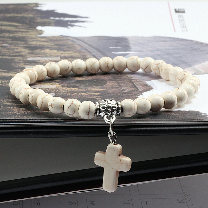 Vintage Cross Natural Stone 6mm Beads Bracelet Charm Men Blue Turquoises Pendant Strand Bracelets Bangles Women Fashion Jewelry